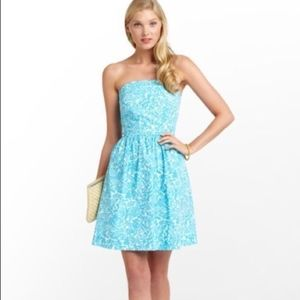 Lilly Pulitzer Strapless Turquoise Print Dress